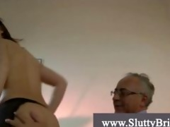 young brunette hair grandpa fucker gets drilled