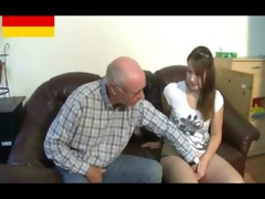 german old man makes youthful girl lewd