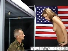 old soldier getting punished by a juvenile girl