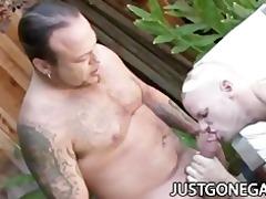 pool boy copulates his boss outdoors