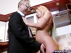 aged guy watches younger beauty fingered