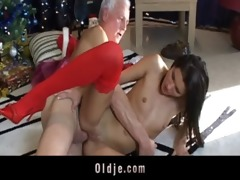 grey oldman gets a real doll to fuck for christmas