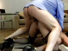 older guy copulates a hot younger stocking doxy