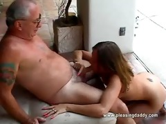 hotty gets throat fucked by old man