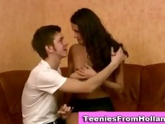 teen euro doxy fingered and gives blowjob