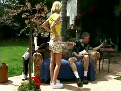 cute blonde fucks outside
