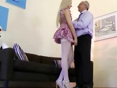 pleasant babe seduces old chap