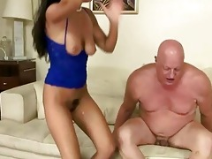 naughty brunette hair fucking fat grandpa