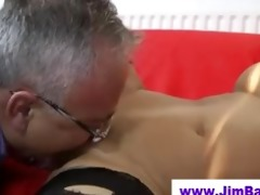 honey in stockings licked by old man