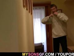 horny daddy seduces cute sons girlfriend
