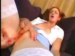 young redhead gal fucked by older fellow