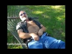 hirsute daddy bear jerking off on a sunny day