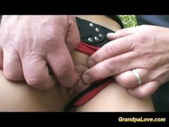 grandpa fucking a nice brunette hottie and giving