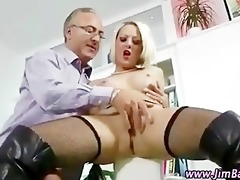 posh blonde in nylons receives hot