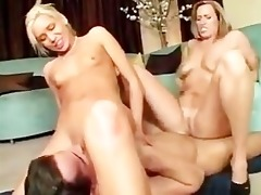 mother and stepdaughter share a sexy guy and fuck