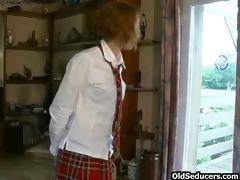 teen redhead taking old cock