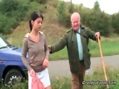 cute hottie seduces granddad on the road