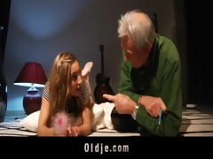 old man got fuck lesson from juvenile blonde